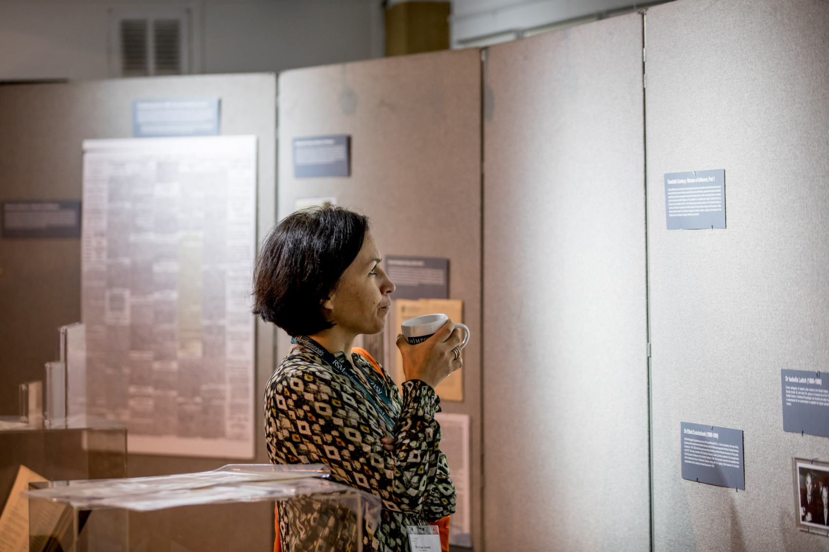 Delegate interacting with the Winter Conference archives exhibition