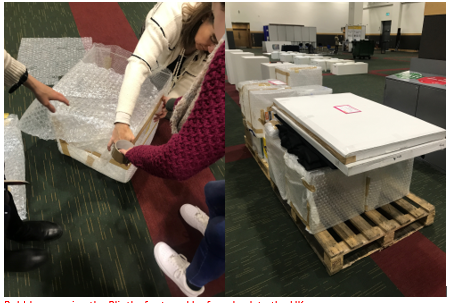 Bubble wrapping the Plinths for travel by ferry back to the UK.