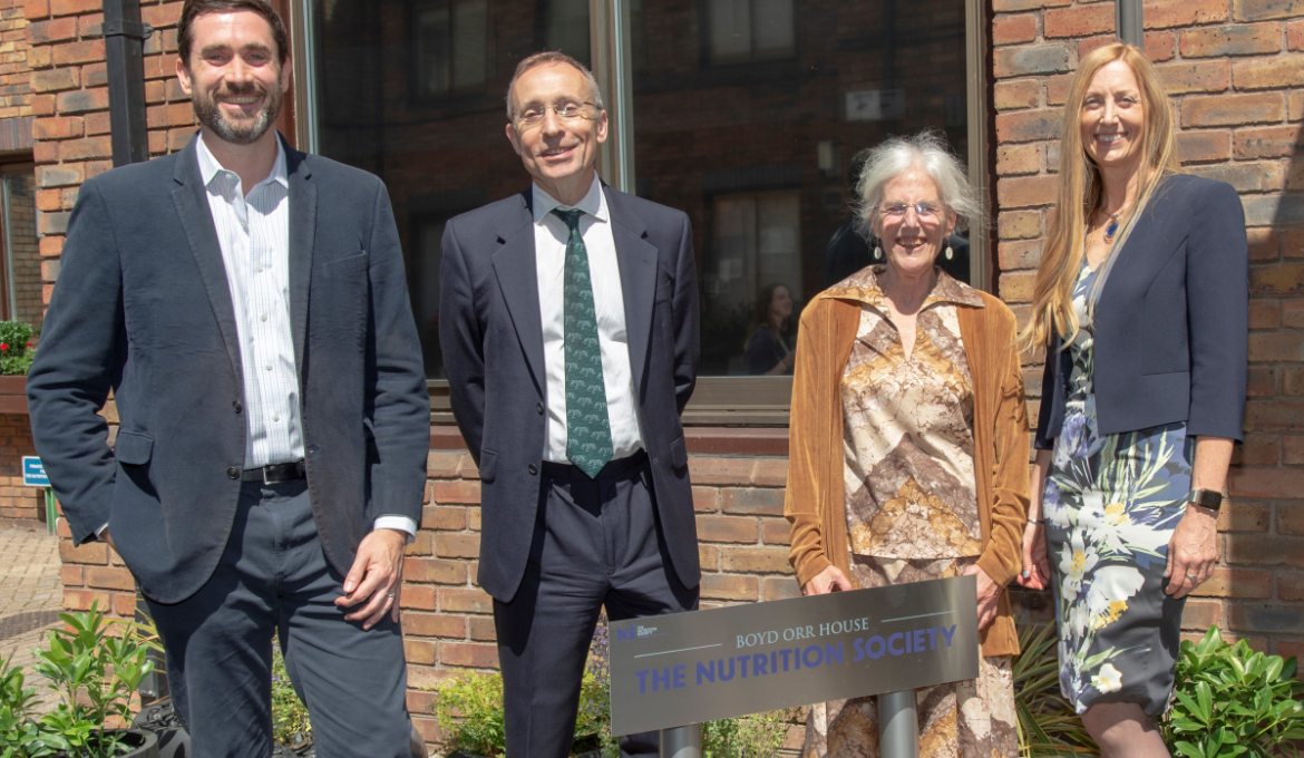 Lord Boyd Orr's granddaughter and great grandson with MR for Hammersmith and Fulham, Mr Andy Slaughter and President of the Society, Professor Julie Lovegrove