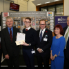 (L to R) Stephen Metcalfe, Mark Downs, Max Grogan (Silver prize winner), Mark Hollingsworth and Stephen Benn MP, present Max with his Silver prize