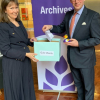 Sheila Merciera and Mark Hollingsworth drawing the prize winners