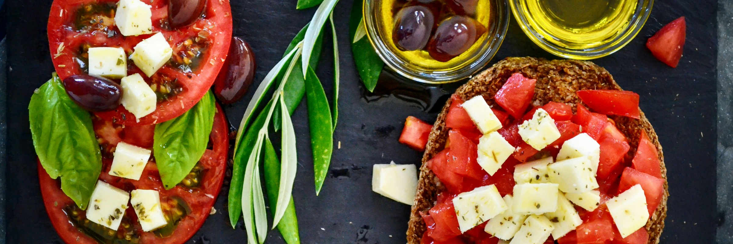 tomatoes, olives and oil