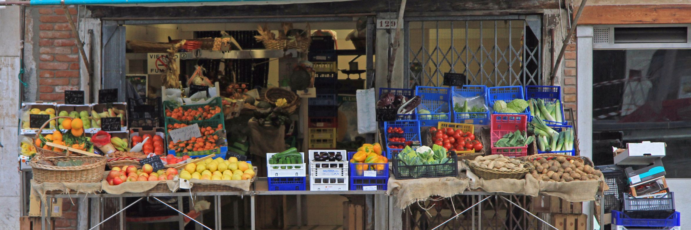 Stand with fruit and veg in urban area