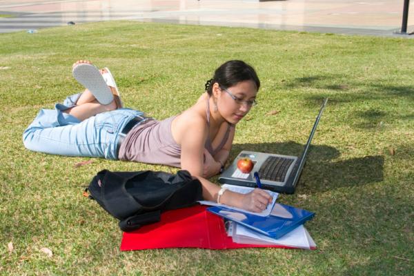 Female studying
