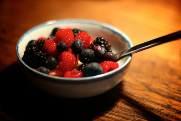 Bowl of mixed berries and yogurt