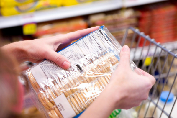 Person viewing a nutritional label