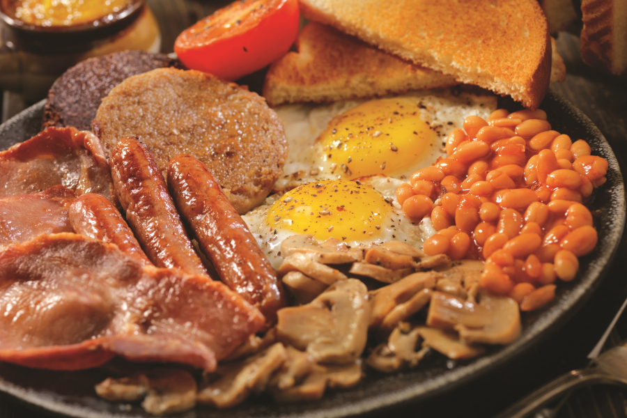 Cooked breakfast on a plate