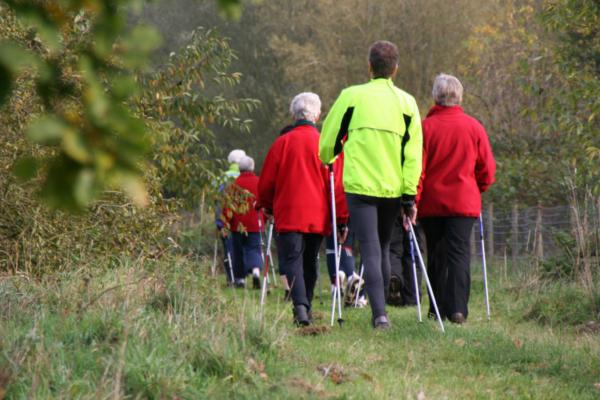 Group walking through countryside