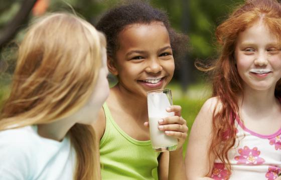 Children drinking fortified milk